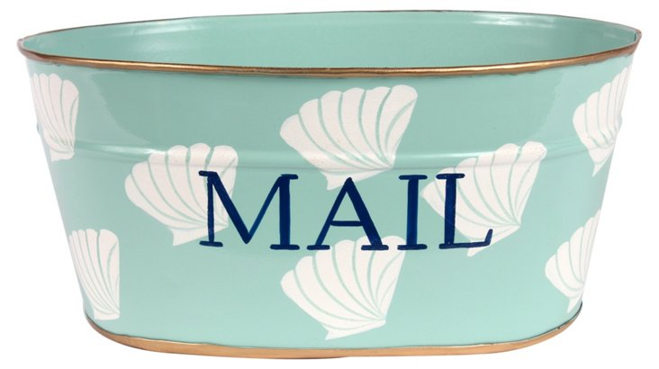 Small Mail Tub, Bar Harbor Shells Aqua