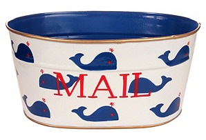 Small Mail Tub, Whales Blue