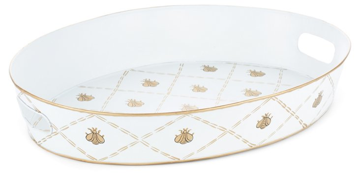 "20"" Ottoman Tray, Cream/Gold French Bee"