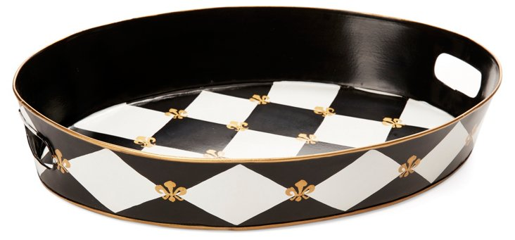 "20"" Ottoman Tray, Black Harlequin"
