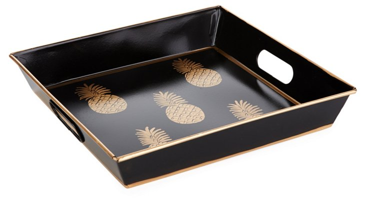 "12"" Square Tray, Black Pineapple"