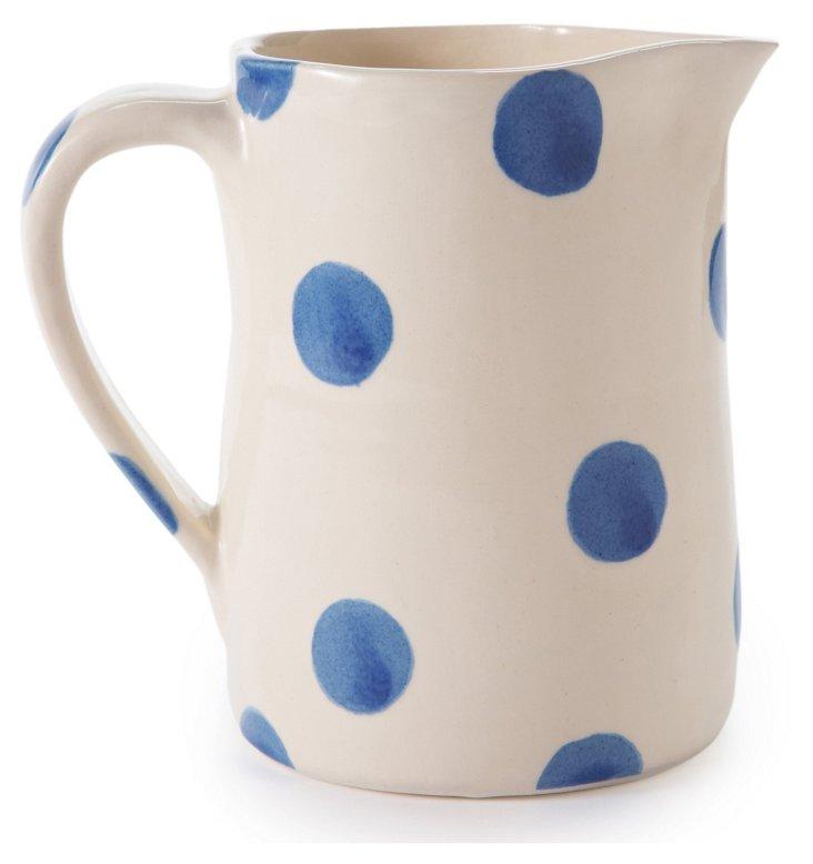 Dots Fez Pitcher, Blue