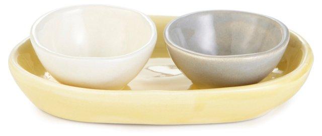 Salt & Pepper Bowls w/ Tray, Marigold