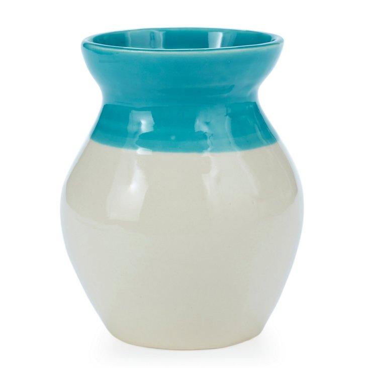 Lola Vase, Turquoise/Cream