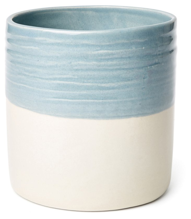 Dipped Utensil Crock, Blue/Cream