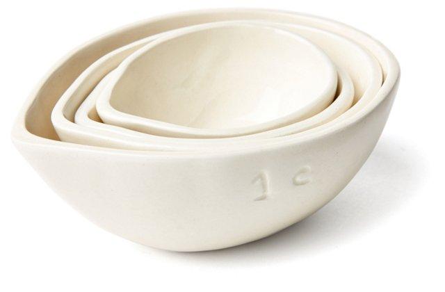 S/4 Assorted Measuring Cups, Cream