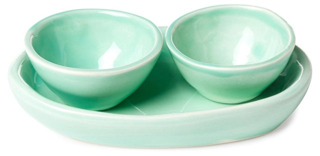 3-Pc Pinch Bowl Set, Aqua