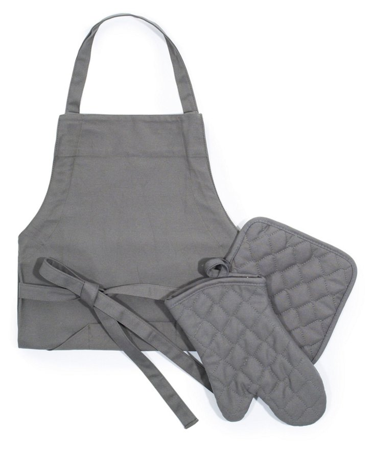 Apron, Mitt & Pot Holder Set, Pewter