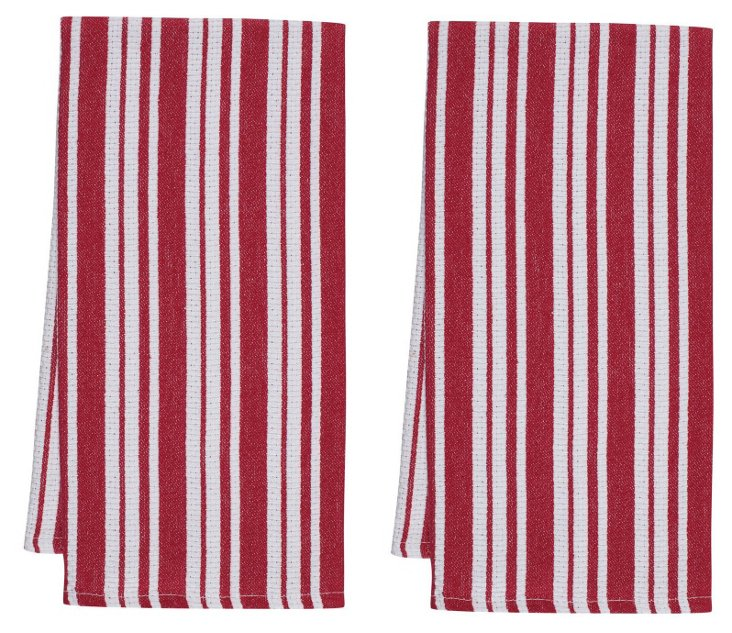 S/4 Basket Weave Kitchen Towel, Cherry