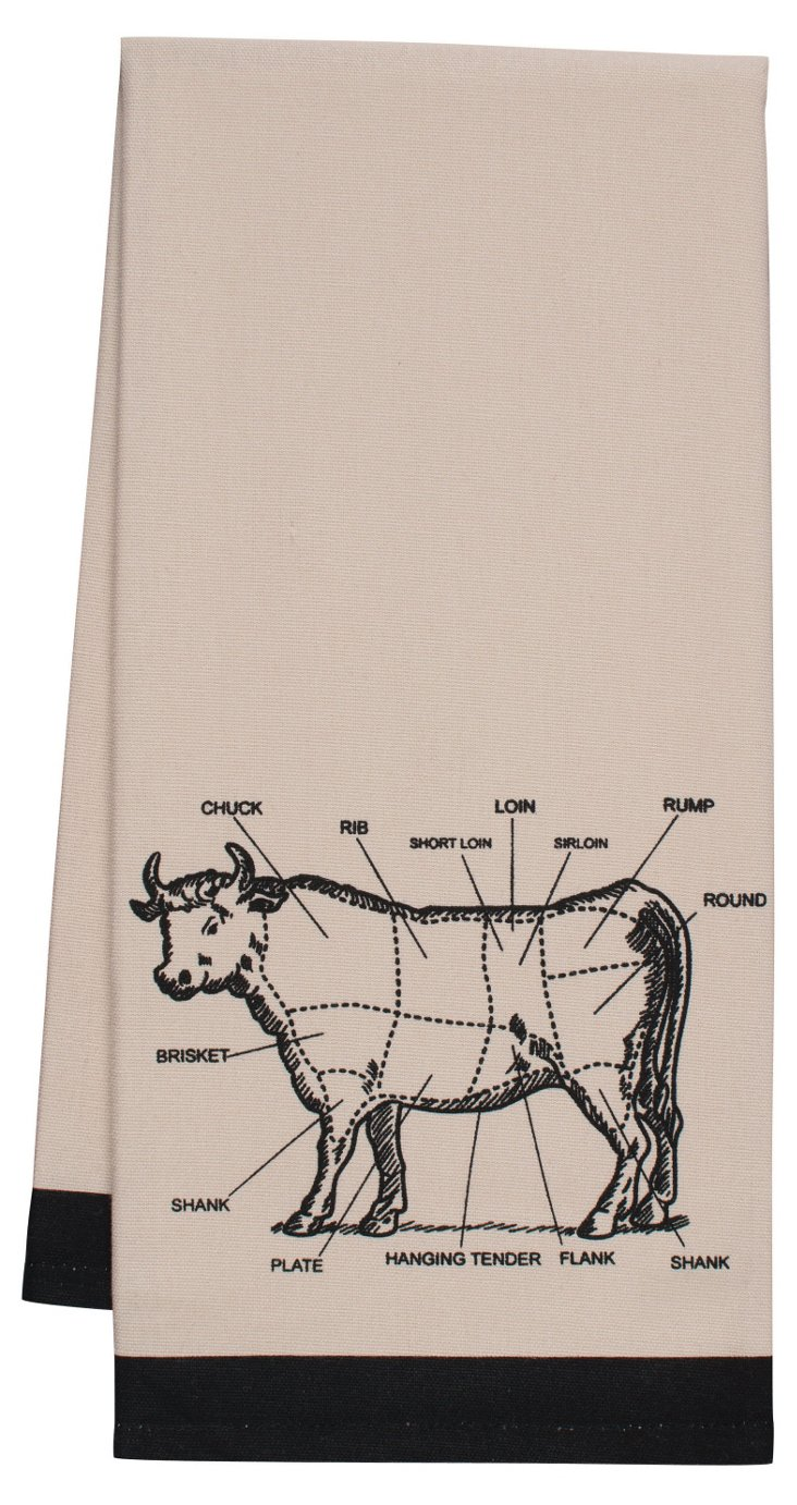 S/4 Cow Kitchen Towels, Beige