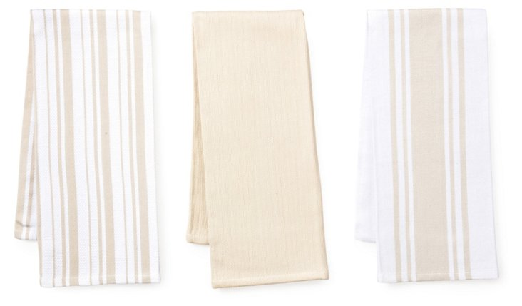 Asst of 3 Whim Kitchen Towel, Oatmeal