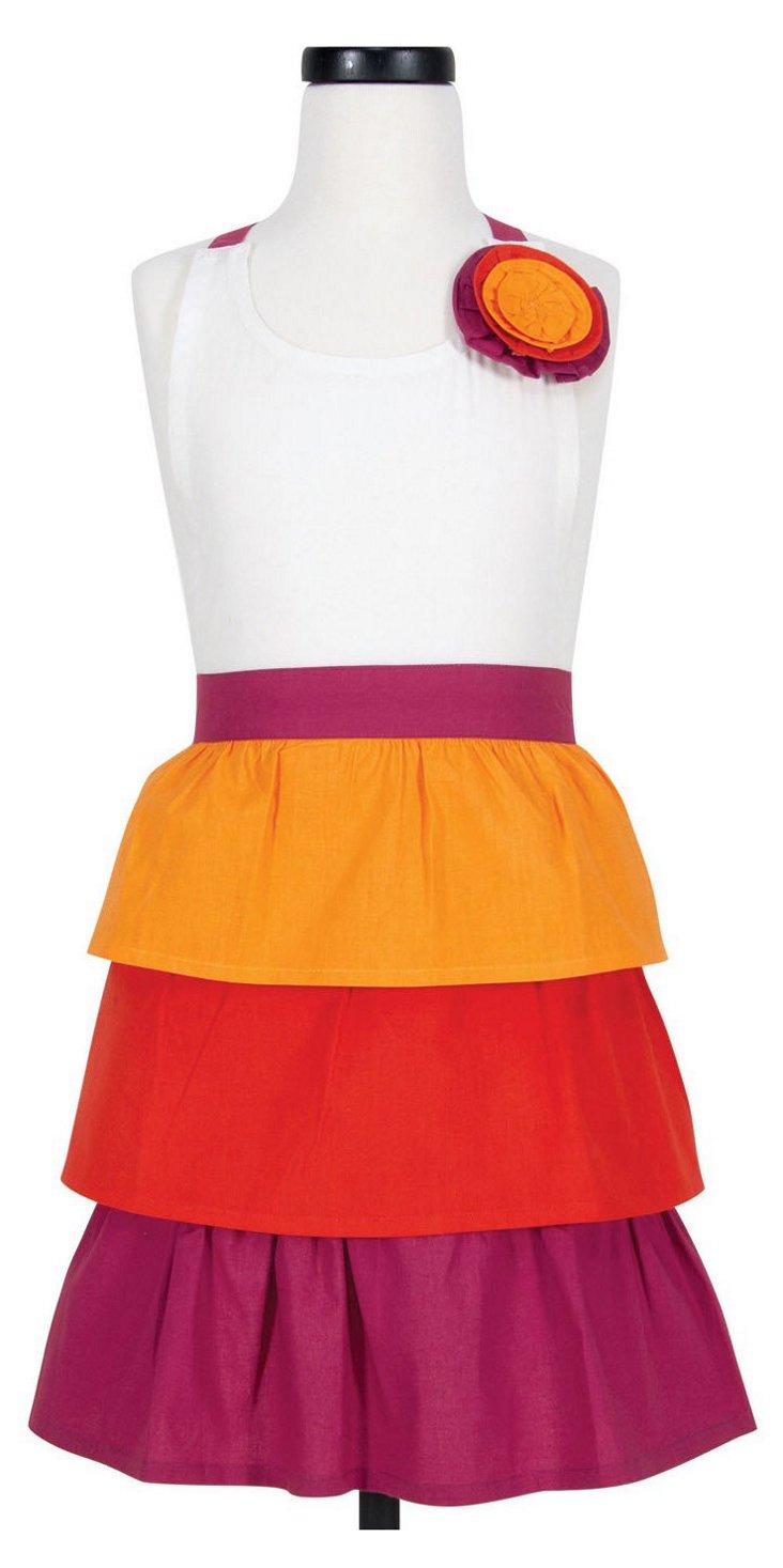 Miranda Kid's Apron, Orange/Multi