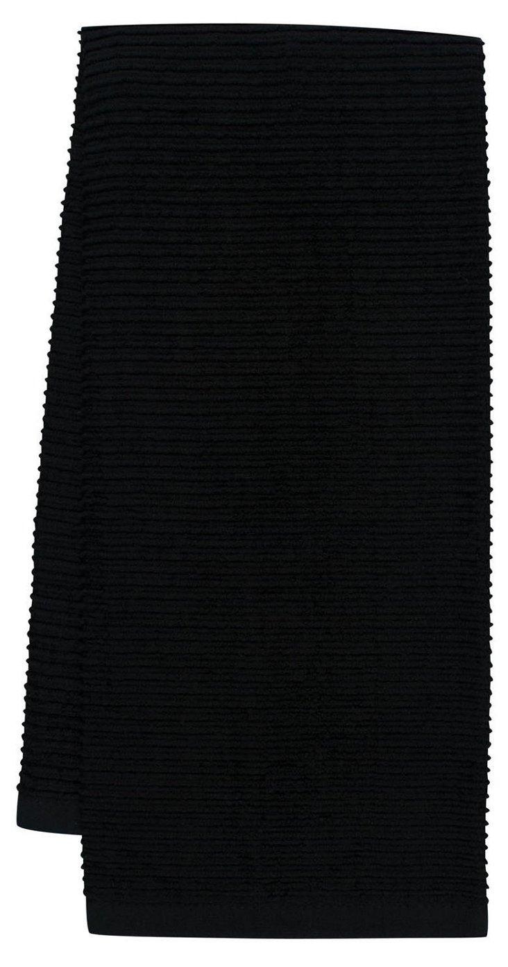 S/4 Whim Wave Kitchen Towels, Black