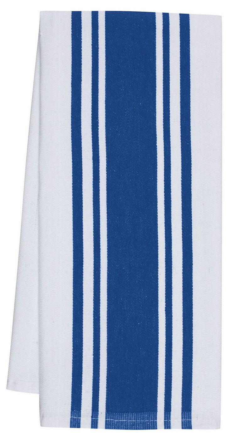 S/4 Center Band Towels, Blue