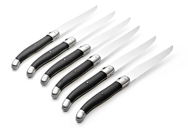S/6 Laguiole Steak Knives, Black