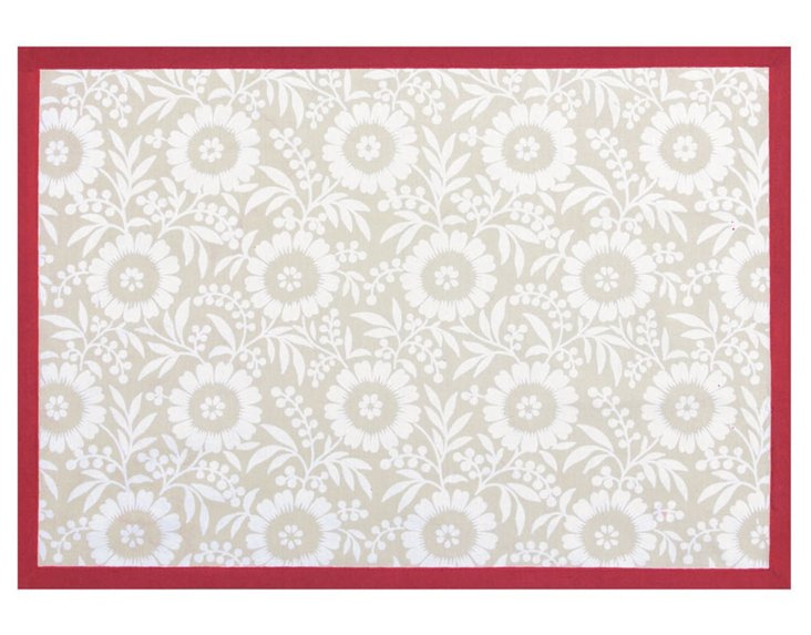S/4 Colette Place Mats, Red/Flax