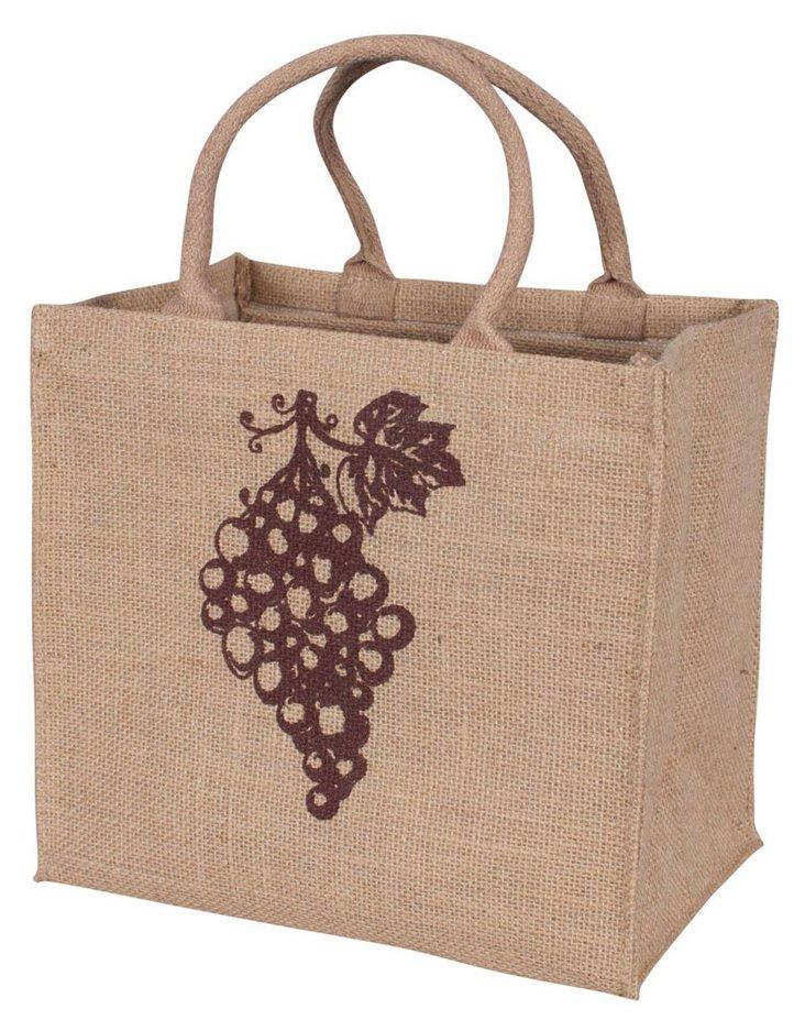 S/2 4-Bottle Jute Wine Totes, Grape