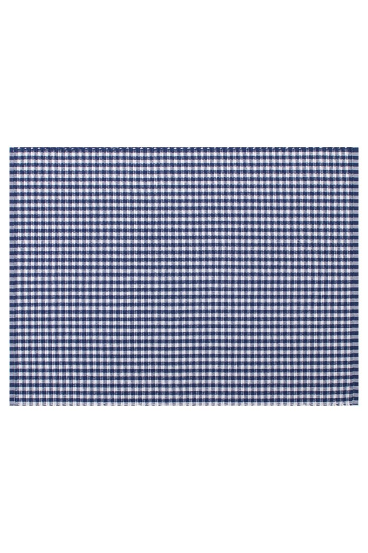 S/4 Fete Gingham Place Mats, Navy