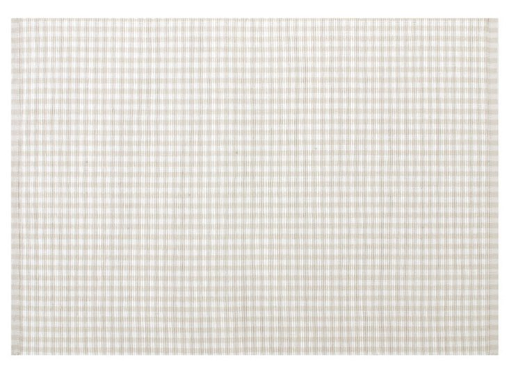 S/4 Gingham Place Mats, Flax
