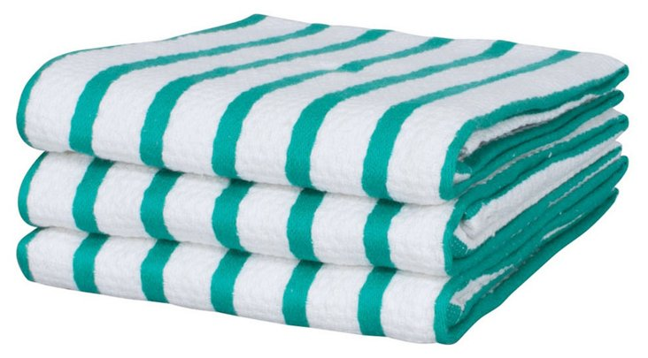 S/6 Whim Casserole Towels, Teal