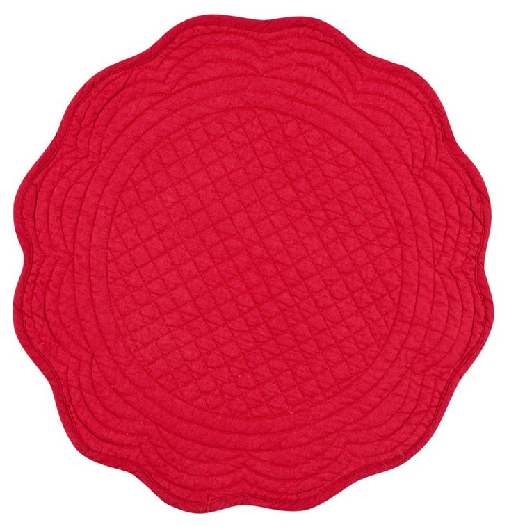 S/4 Round Boutis Place Mats, Red