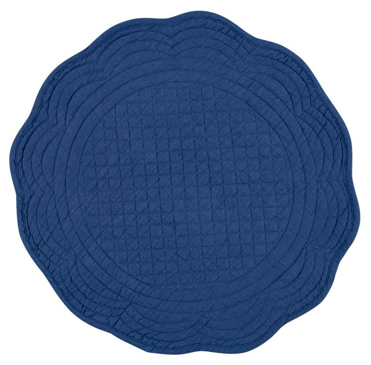S/4 Fete Boutis Round Place Mats, Navy