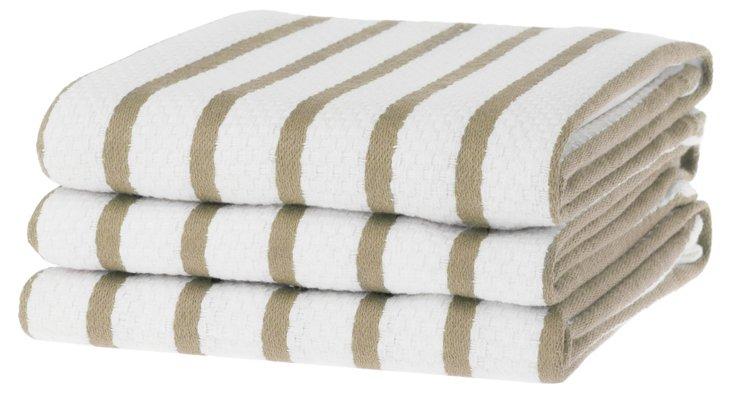 S/6 Whim Casserole Towels, Khaki