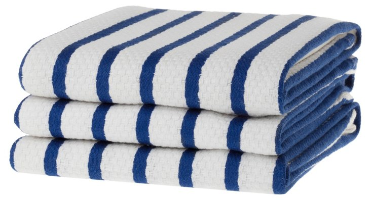 S/6 Whim Casserole Towels, Blue
