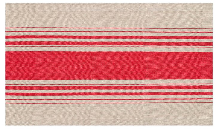S/4 Cote Herringbone Place Mats, Red