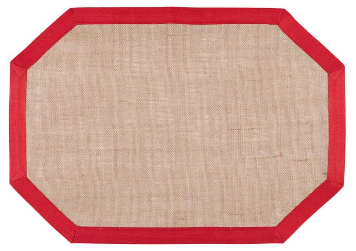 S/4 Tosca Jute Place Mats, Red