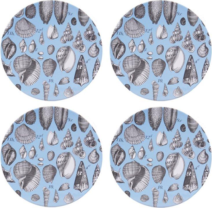S/4 Melamine Seashell Plates, Blue