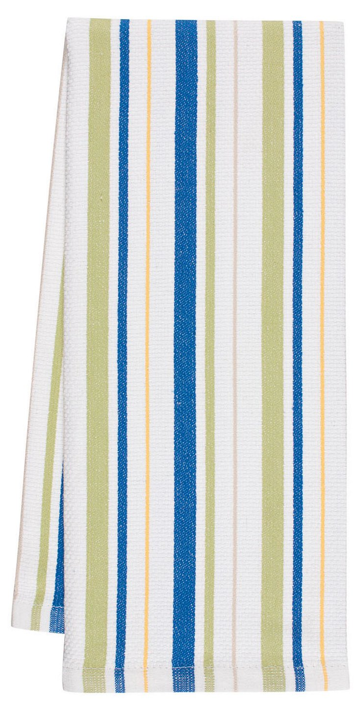 S/3 Vintage-Style Striped Towels, Blue