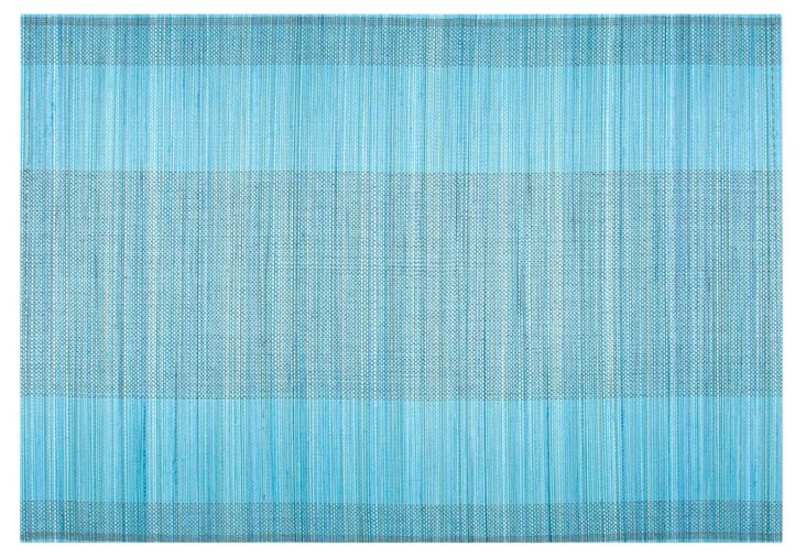 S/4 Two-Toned Bamboo Place Mats, Blue