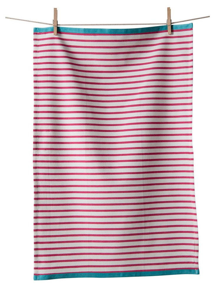 S/3 Striped Towels, Raspberry