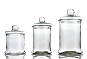 Set of 3 Round Glass Canisters