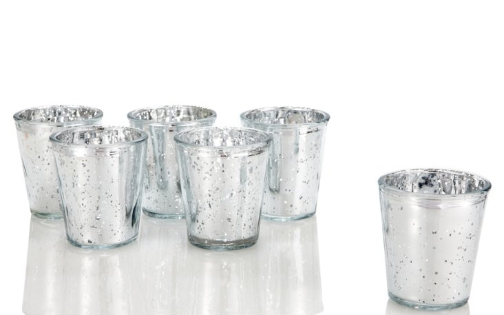 S/6 Mercury Glass Candle Holders
