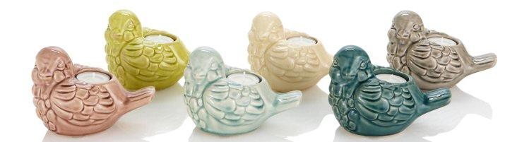 S/6 Ceramic Bird Candleholders