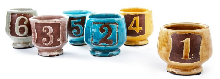 S/6 Ceramic Numbered Pots