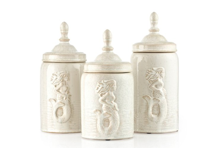 S/3 Canisters w/ Mermaid Pattern