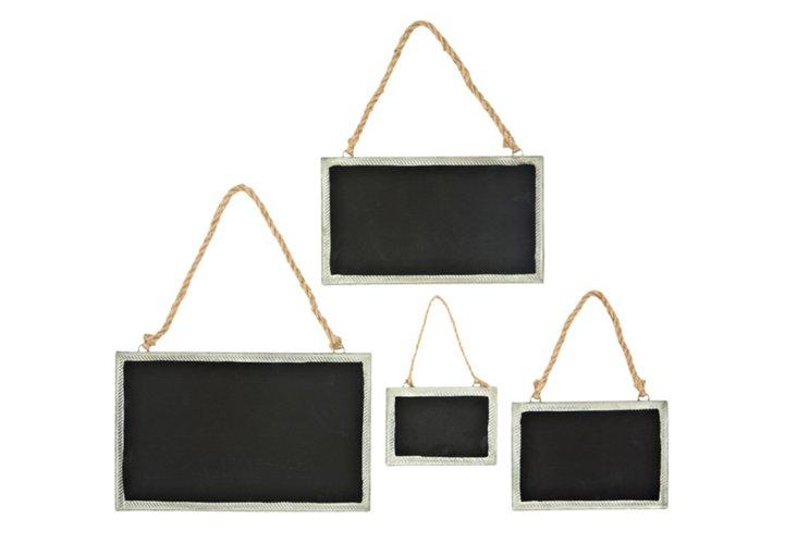 4 Asst. Chalkboards w/ Jute Hangers