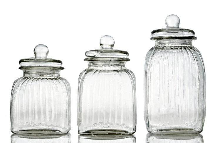 S/3 Ribbed Square Glass Canisters