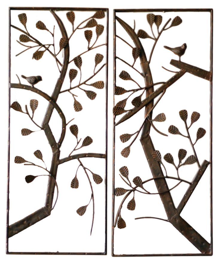 Rustic Metal Trees, Set of 2