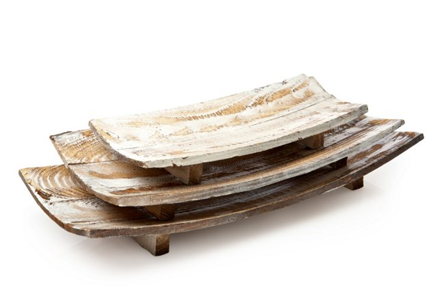 Curved Wooden Trays, Asst. of 3