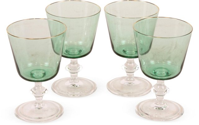 Green Cordial Glasses, Set of 4