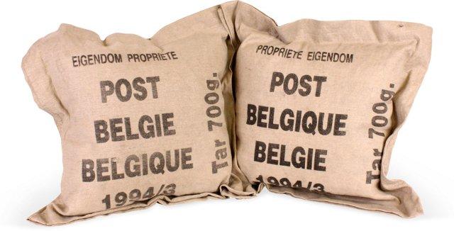 Belgian Postal Bag Pillows, Pair
