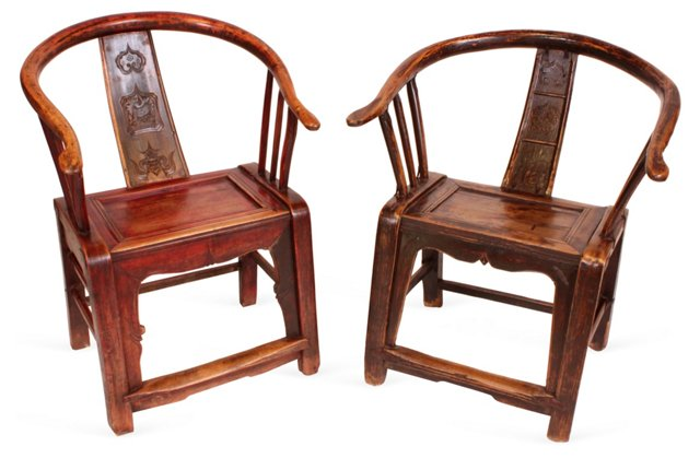 Chinese Elm Provincial Chairs, Set of 2