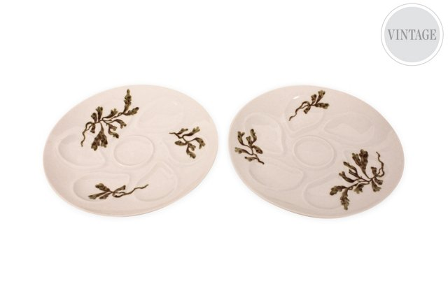 Limoges Oyster Plates, Pair