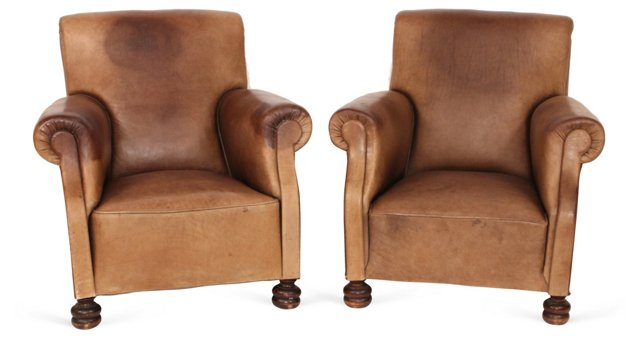 English Leather Armchair, Pair