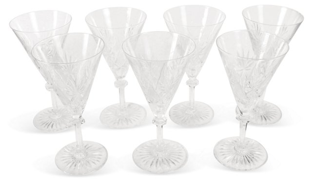 Crystal Cocktail Glasses, Set of 7