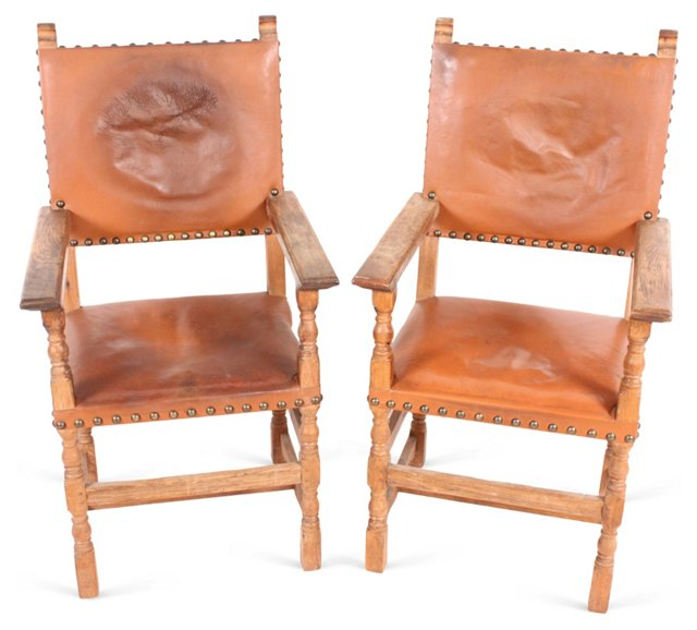 Spanish Leather Armchairs, Pair